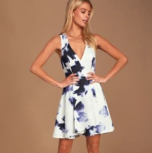 Lulu's Seeing Chic Blue Ivory Print Skater Dress
